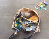 Whimsical Large Crossbody Bag Handmade in Spring Colors of Yellow, Pink, Blue and Green