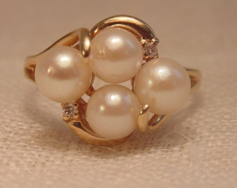 14K Gold Pearl Diamond Ring Gold Ring Pearl Ring 14K Ring Womens Ring Pearl Ring Cultured Pearl Ring