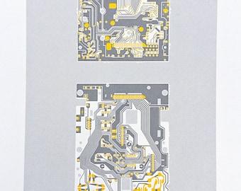 Nintendo Gameboy 1989 screen print yellow and grey art silkscreen circuit portrait retro computing