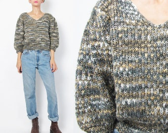90s Mixed Metallic Knit Sweater Textured Flecked Knit Hand Knitted Sweater Womens Winter V Neck Sweater Slouchy Cropped Women Jumper S/M E89