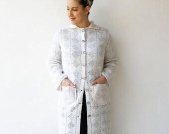 Vintage White Knit Coat / Crochet Coat / Size L