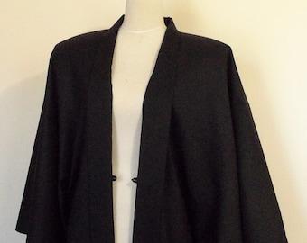 Mens KIMONO jacket HAORI wool black SAMURAI style Extra Large ready to ship