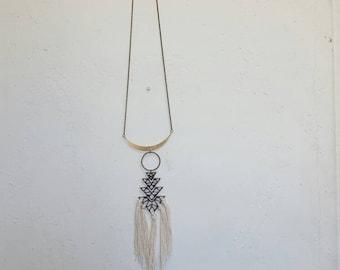 Boho Tassel Necklace Geometric Necklace Arrow Necklace Boho Chic Jewelry Fringe Necklace Triangle Necklace Statement Necklace