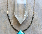 Labradorite and Spinel Necklace, Faceted Labradorite Pendant, Boho Luxe Gemstone Necklace, Bohemian Jewelry