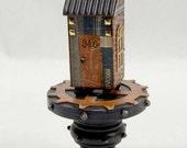 Steampunk Style Miniature House on Pedestal