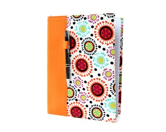 Composition notebook cover with option to personalize, notebook cover, fabric notebook cover, journal, teacher gifts - Floral Burst