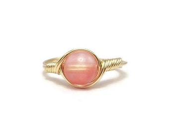 """Cherry """"Quartz"""" Glass 14k Yellow Gold Filled Wire Wrapped Ring"""
