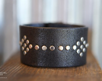 CUSTOM HANDSTAMPED CUFF - bracelet - personalized by Farmgirl Paints - black leather cuff with silver studs