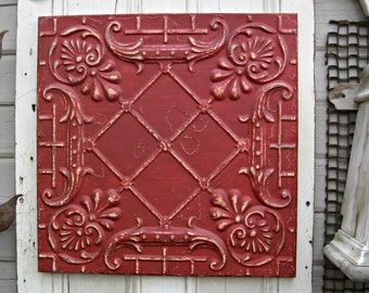 Antique Ceiling Tin Tile. FRAMED 2x2 metal tile.  Red tile. Vintage architectural salvage. Red Metal wall decor. Old pressed tin.