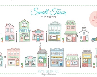 Small Town CLIP ART SET for personal and commercial use -main street, old fashioned, station wagon, storefronts, shopping, downtown , shops