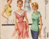 McCalls 3406 / Vintage 50s Sewing Pattern / Blouse Shirt Top / Size 15 Bust 33