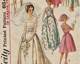 Simplicity 5343 / Vintage 60s Sewing Pattern / Wedding Dress / Bridal Gown / Size 13 Bust 33