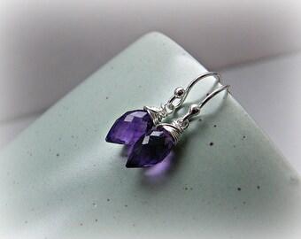 Amethyst earrings, February birthday gift, marquises earrings, petite purple earrings, grape amethyst drop earrings in sterling silver