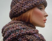 Tuscany Colors Set, Desert Colors Set, Hat and Scarf Set, Brim Hat Scarf Set, Crocheted Hat Scarf, Variegated Color Set