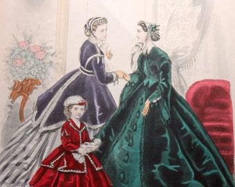 Vintage Godey's Fashion Color Print