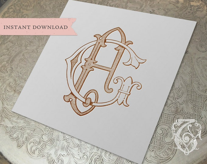 Vintage Wedding Monogram FG GF Digital Download F G