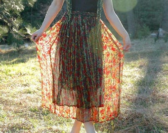 Free Size... Vintage Sheer Broomstick Skirt... Sparkling Gold Thread Accents... Indian Dark Floral Skirt