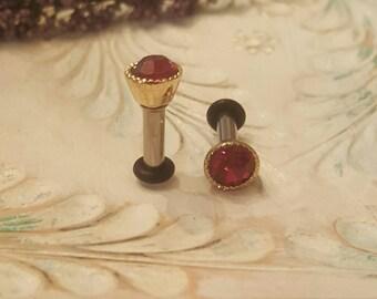 Raspberry Pink Crystal Plugs Gauges 10g, 8g P691