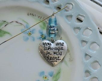 You Are Always in My Heart,Heart Charm,Heart Pendant, Millefiori Venetian Lampwork Valentines Day Findings Jewelry Love #1674G