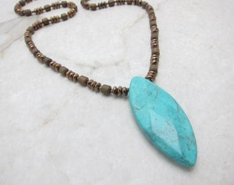 Long Boho Necklace Chunky Turquoise Long Necklace Layering Necklace Turquoise Necklace Boho Necklace Simple Bohemian TaraLynEvans  WELLNESS