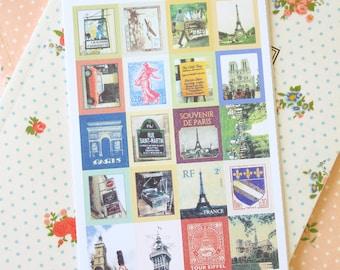 PARIS Tiny Stamp vintage style stickers