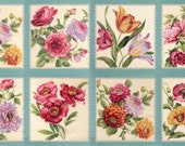 FELICITY AQUA moda fabric Panel Roses flowers quilting sewing Lilac Lavender border dahlias poppies peonies lace red aqua pink 32600-13