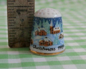 Vintage Winter Scene Christmas Thimble, 1984 Made in West Germany