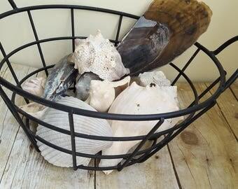 Vintage Wrought Iron Basket, Shabby Chic Storage, Open Metal Basket