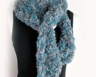 Long Teal Blue and Silver Scarf - Fluffy Scarves - Hand Crochet - Knitted Winter Scarves - Super Long