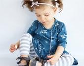Leggings | Gray Stripes | Sizes 3 Months to 7/8 | Grey, striped leggings, baby girl leggings, long, capri