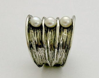 Pearls ring, Wide silver Band, bohemian ring, large ring, statement ring, unique ring for her, cocktail ring - Bubbling emotions R1483-1