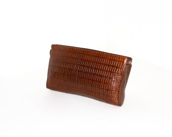 FENDI Vintage Leather CLUTCH Brown Embossed Zucca Logo Handbag - AUTHENTIC -