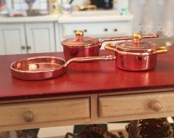 Miniature Copper Pots And Pans, Casserole and Skillet Pans #67, Dollhouse Miniature, 1:12 Scale, 5 Piece Copper Casserole Cookware Set
