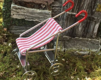 Miniature Baby Stroller, Red and White Stroller, Dollhouse Miniature, Mini Stroller, Dollhouse Accessory, Decor