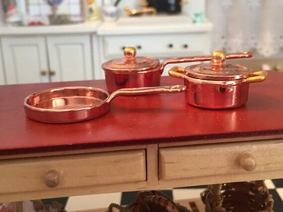 Miniature Copper Pots And Pans, Casserole and Skillet Pans #8167, Dollhouse Miniature, 1:12 Scale, 5 Piece Copper Casserole Cookware Set