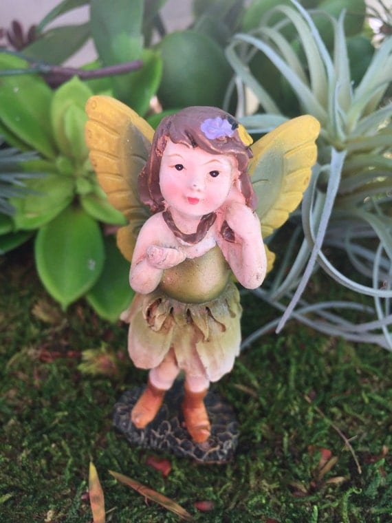 Fairy Figurine, Mini Fairy With Green Ombre Flower Dress, Yellow and Green Wings, Fairy Garden, Miniature Gardening, Home & Garden Decor