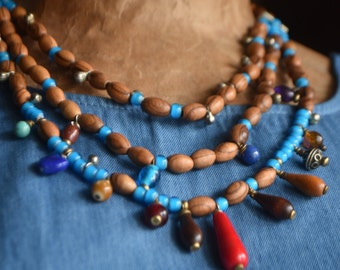 Bohemian Olive Wood Bead & Glass Bead Necklace