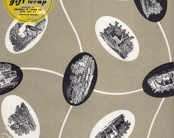 Vintage Wrapping Paper - Black & Gray Landscapes -  UNOPENED 2 Sheets All Occasions Giftwrap