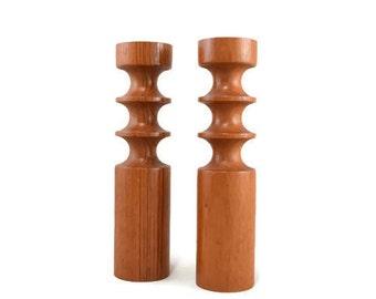 Vintage Candle Holders Candlesticks Teak Wood Thailand