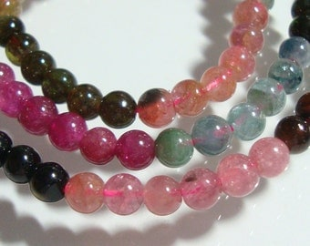 "4.5-5mm, 16"" strand - Natural Tourmaline Smooth Round Beads, N9"