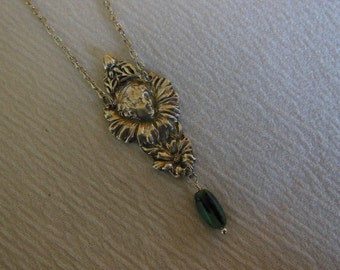 Flower Queen with Emerald   Antique Sterling Silver Spoon Necklace