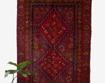 Vintage Persian Rug / Vintage Shiraz Rug / Semi Antique Persian Rug / Red Persian Rug / Vintage Area Rug / 4x6 Rug / FREE US Shipping