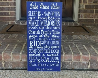 Lake House Sign ~ Lake House Rules Custom Wood Sign ~ Lake House Decor ~ Family Rules Sign ~ House Rules Sign ~ Lake House Wall Art