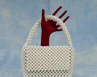 Vintage 60s Walborg Mod White Plastic Beaded Handbag, Purse