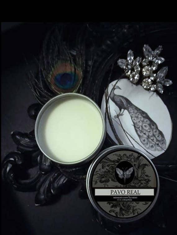 Pavo Real Natural Solid Perfume Gypsy Apothecary Strawberry,Jasmine,Honeysuckle,Rose,Orris,Orange,Vetiver,Patchouli,Bergamot,Coriander