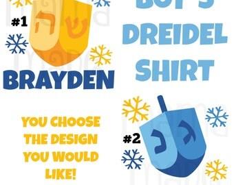 Boy's Hanukkah Shirt or Bodysuit Boy's Hanukkah Dreidel Shirt Boy's Chanukkah Shirt Boy's Personalized Hanukkah Shirt Boys Holiday Shirt