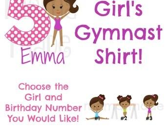 Personalized Gymnast Shirt or Bodysuit Gymnastics Shirt Gymnast Birthday Gymnast Tee, Girl's Birthday Shirt, Birthday Gymnastics Shirt,