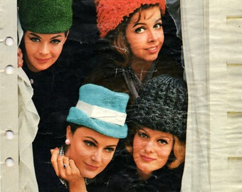 Patons 703 60s MOD Womens Kids Knitted hats Vintage Knitting Pattern Booklet Originals not PDF