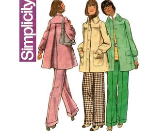 Simplicity 5411 Flared Coat & Pants Pattern Smock Jacket Cuffed Flares Boho 1970s Fashion Size 10 Bust 32 1/2 inches