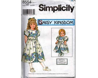 "Simplicity 8554 DAISY KINGDOM Girls Overlay Scallop Trim Tulip Sleeve Party Dress Pattern Bonus 18"" Matching Doll Dress OOP Size 3 4 5 6"
